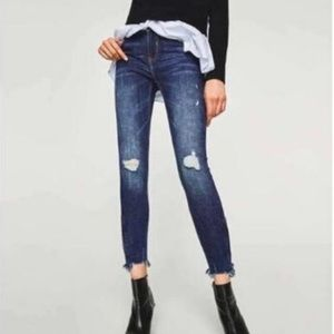 Zara Trafaluc Denim Distressed Zip Ankle Jeans 6